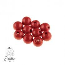 Пластиковые бусины глянцевые, цвет красный,1 см, №20