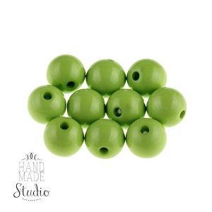 Пластиковые бусины, цвет салатовый,1 см, №2