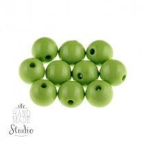 Пластиковые бусины глянцевые, цвет салатовый,1 см, №2