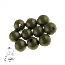 Пластиковые бусины глянцевые, цвет оливковый,1 см, №23