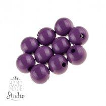 Пластиковые бусины глянцевые, цвет фиолетовый,1 см, №24