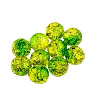 №87 Бусины с эффектом битого стекла зеленые с желтым, 6 мм
