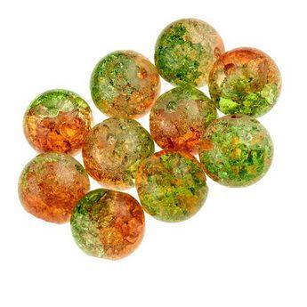 №102 Бусины с эффектом битого стекла оранжево-зеленые, 12 мм