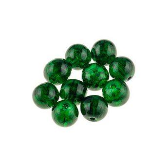 №37 Бусины с эффектом битого стекла темно-зеленые, 8 мм