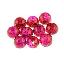 №41 Бусины с эффектом битого стекла розовые с красным, 10 мм