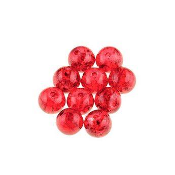 №53 Бусины с эффектом битого стекла красные, 8 мм