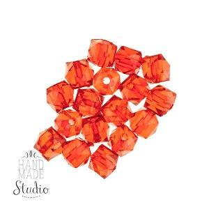 Пластиковые бусины  красные граненые, 1 см №57
