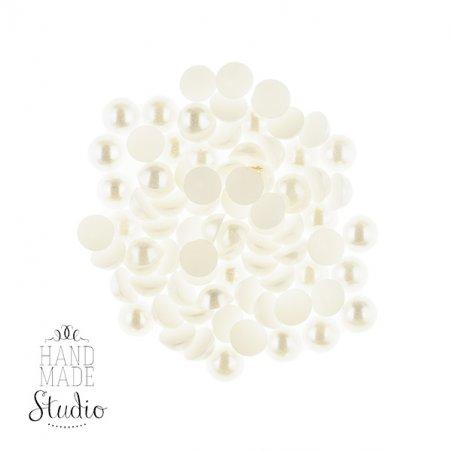 Пластиковые полубусины, белый перламутр, 0,6 см