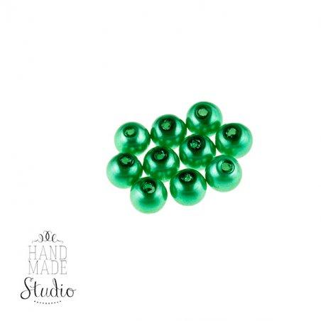 №5  Бусины под жемчуг стеклянные, цвет зеленый, 6 мм,
