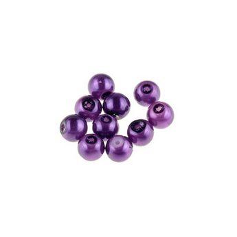 №53 Бусины под жемчуг стеклянные, цвет фиолетовый, 4 мм