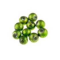 Бусины опаковое стекло, цвет зеленый, 8 мм, №22, 10 шт