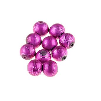Бусины опаковое стекло, цвет малиновый, 6 мм, №26