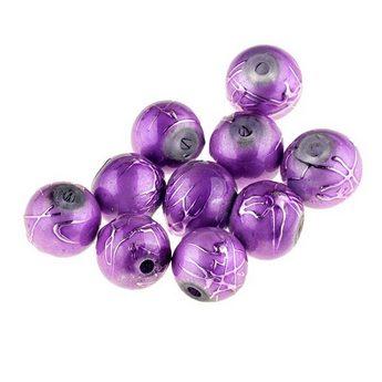 Бусины опаковое стекло, цвет фиолетовый, 6 мм, №10