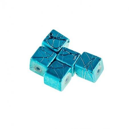 Бусины-кубики опаковое стекло, цвет бирюзовый, 8 мм, №12