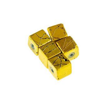 Бусины-кубики опаковое стекло, цвет желтый, 8 мм, №20