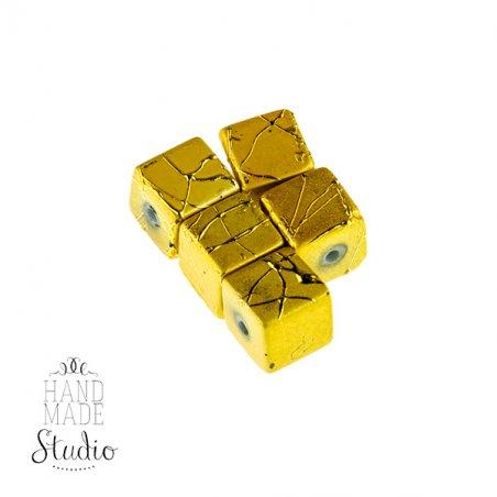 Бусины-кубики опаковое стекло, цвет желтый, 8 мм, №20, 5 шт