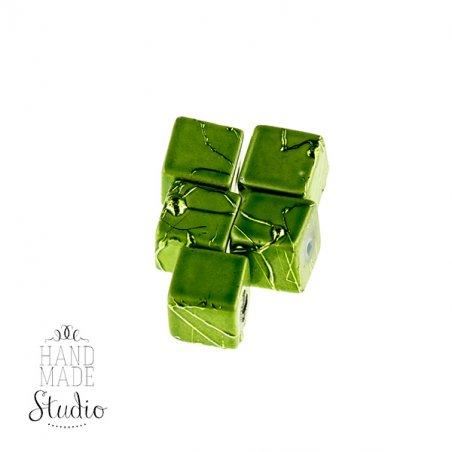 Бусины-кубики опаковое стекло, цвет зеленый, 8 мм, №21