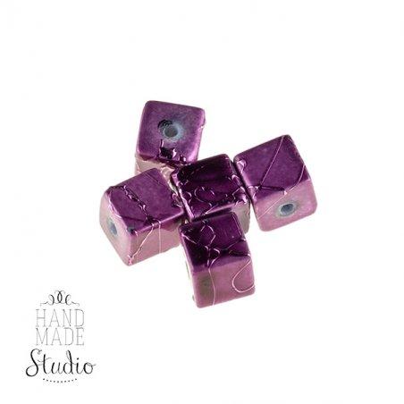 Бусины-кубики опаковое стекло, цвет розовый, 8 мм, №19
