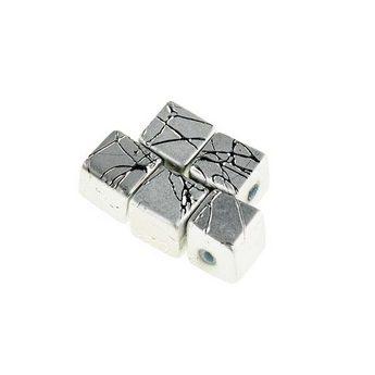 Бусины-кубики опаковое стекло, цвет серебряный, 8 мм, №18