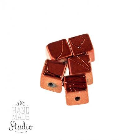 Бусины-кубики опаковое стекло, цвет терракотовый, 8 мм, №13