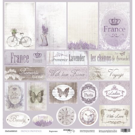 "Лист односторонней бумаги 30x30 ""Карточки из коллекции French Provence"""