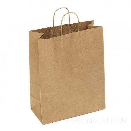 Бумажный пакет из крафт-бумаги с витыми бумажными ручками, 31х26х14 см