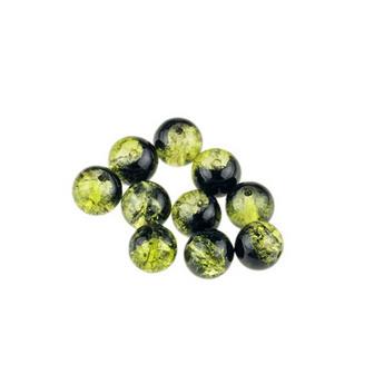 №68 Бусины с эффектом битого стекла  желто-зеленые с черным, 8 мм