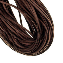 Замшевый шнур натуральный, цвет коричневый, толщина 2,5  мм