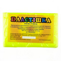 Полимерная глина пластишка/bebik лимонная флуоресцентная, 250 г, 0202
