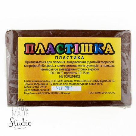 Полимерная глина пластишка/bebik темно-коричневая, 250 г, 0122