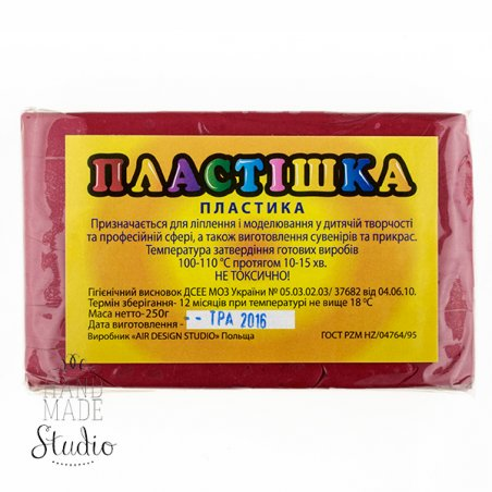 Полимерная глина пластишка/bebik красная бордо, 250 г, 0110