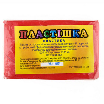 Полимерная глина пластишка/bebik красная, 250 г, 0108