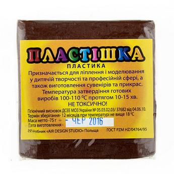 Полимерная глина пластишка/bebik темно-коричневая, 75 г, 0122