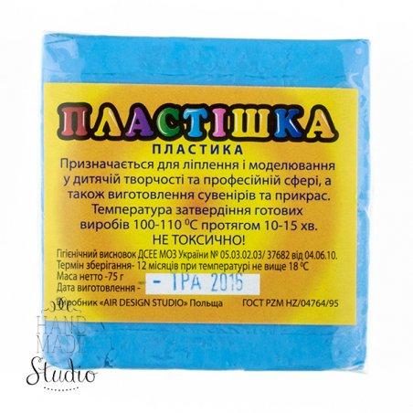 Полимерная глина пластишка голубая  флуоресцентная, 75  г, 0208