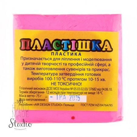 Полимерная глина пластишка розовая  флуоресцентная, 75 г, 0206