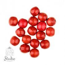 Деревянные бусины , цвет - красный, 1,3 см