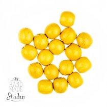 Деревянные бусины , цвет - желтый, 1,3 см