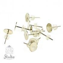 Пуссеты (сережки-гвоздики) с площадкой 0,6 мм с силиконовой заглушкой, цвет - серебро