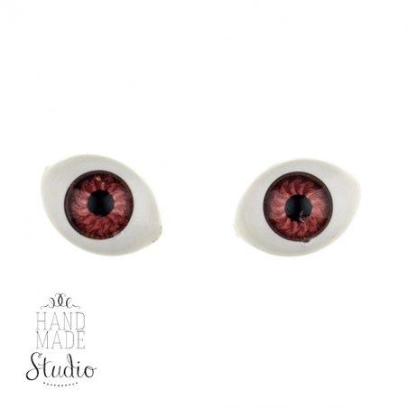 Глаза для кукол, цвет -  карие, 14 мм