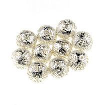 №12 Металлические ажурные бусины, цвет  серебро 0,6 см
