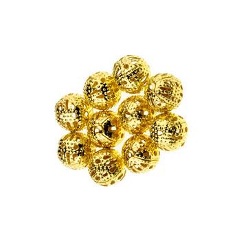 цвет  золото 1 см, №23 Металлические ажурные бусины,