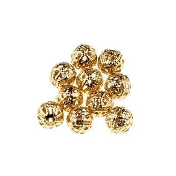 цвет  золото 0,8 см, №15 Металлические ажурные бусины,