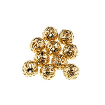 №15 Металлические ажурные бусины, цвет  золото 0,8 см, 10 шт