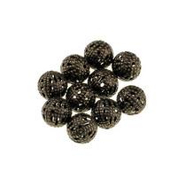 №14 Металлические ажурные бусины, цвет- бронза 1 см, 10 шт
