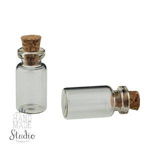 Стеклянная бутылочка с пробкой, 12х24мм
