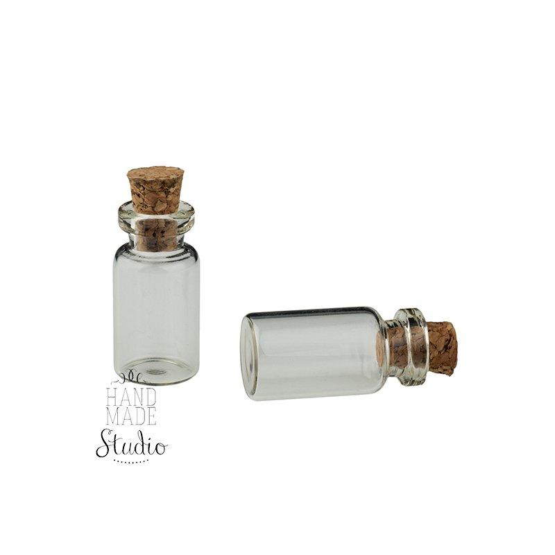 Стеклянная бутылочка с пробкой (1мл), 22х11мм, 1 шт