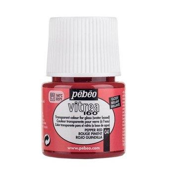Краска для стекла под обжиг Vitrea Pebeo 04, цвет - красные перец