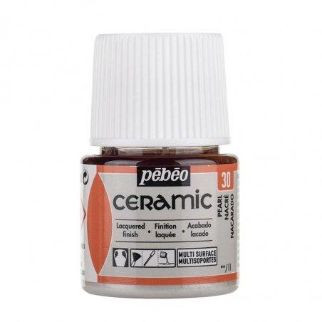 Краска-эмаль лаковая непрозрачная Ceramic Pebeo 30, цвет - перламутровый