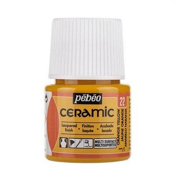 Краска-эмаль лаковая непрозрачная Ceramic Pebeo 22, цвет - оранжево-желтый