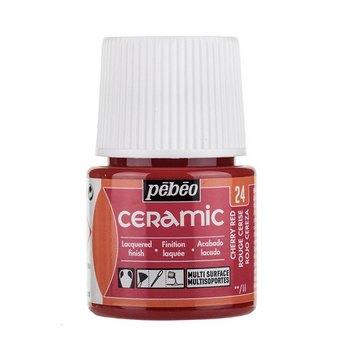 Краска-эмаль лаковая непрозрачная Ceramic Pebeo 24, цвет - вишнево-красный